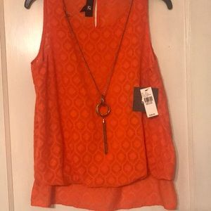 NWT orange top with necklace INCLUDED